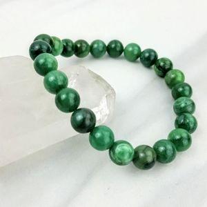 African Green Jade Bead Crystal Bracelet Jewelry